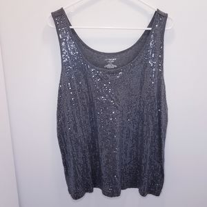 Lane Bryant Gray Sequin Tank Top 14/16